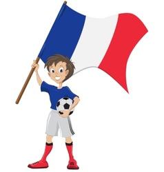 Happy soccer fan holds france flag vector