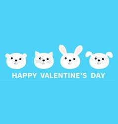 Happy valentines day bear cat dog rabbit animal vector