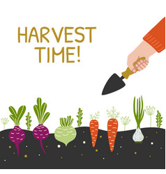 Harvest time bright banner man is harvesting in a vector