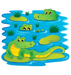 Image with crocodile theme 1 vector