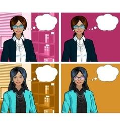 Indonesian Businesswoman pop art comic vector image