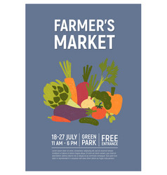 Invitation template for farmers market harvest vector