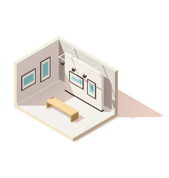 Isometric low poly museum interior vector