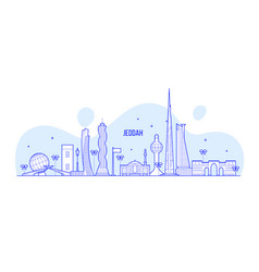 jeddah skyline saudi arabia city linear art vector image