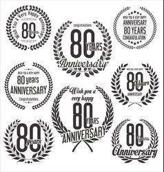laurel wreaths anniversary collection 80 years vector image