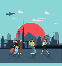 lets travel in japan for seeing landmarks design vector image