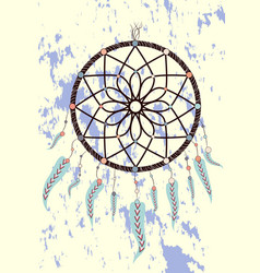 magic symbol dreamcatcher with gemstones and vector image