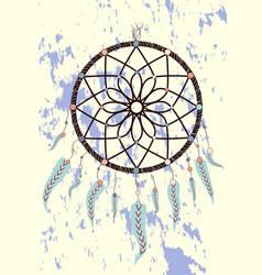 magic symbol dreamcatcher with gemstones and vector image