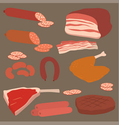 Meat products set of cartoon delicious barbecue vector