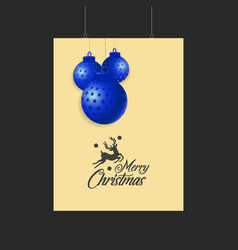 merry christmas reindeer and blue balls template vector image
