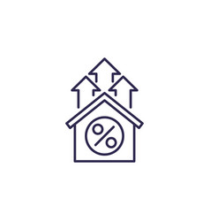 mortgage rate growth line icon vector image