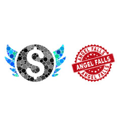 Mosaic angel investment with grunge angel falls vector