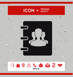 notebook address phone book icon with symbol of vector image