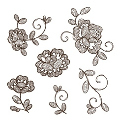Old lace ornamental flowers vector