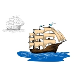 Old sailing ship in calm blue ocean vector