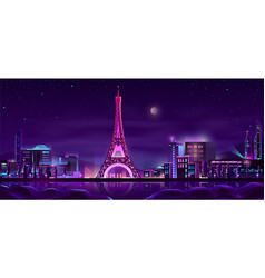 paris night streets cartoon background vector image