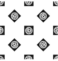 pizza with salami mushrooms tomatoes pattern vector image