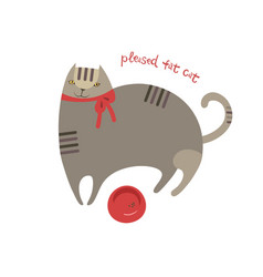 Pleased cute cartoon fat cat with food bowl vector