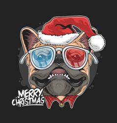 pug puppy dog santa claus christmas cute face vector image