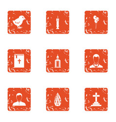 Repentance icons set grunge style vector