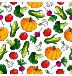 Ripe fresh vegetables seamless pattern background vector image