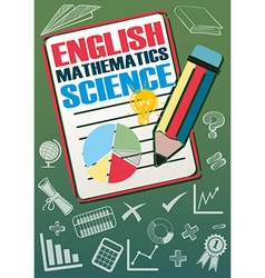 School subjects with many symbols vector image