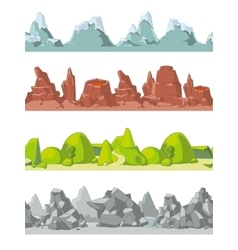Seamless mountains set in cartoon style vector image