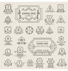Set arabesque logos emblem ornamental vector image