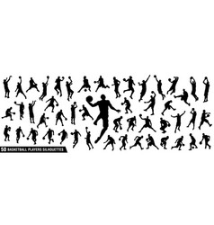 Set basketball players silhouettes vector
