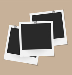 set of realistic photo frames on metal rivets vector image