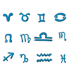 set of twelve zodiac signs drawn by hand vector image