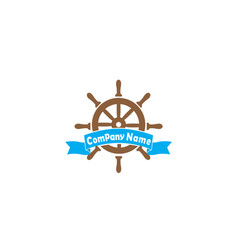 ship wheel with a banner for logo design vector image