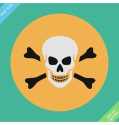 Skull and bones warning sign - vector image