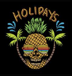 Skull pinapple holidays vector