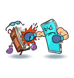 smartphone against book enmity of technology and vector image
