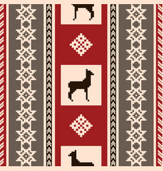 south american fabric pattern with lamas vector image
