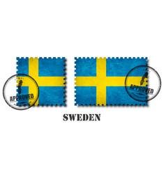 sweden or swedish flag pattern postage stamp vector image