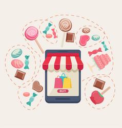 sweet shop online store vector image