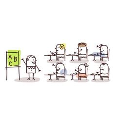 teacher kids at school vector image