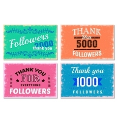 Thank You Followers Emblem Set vector