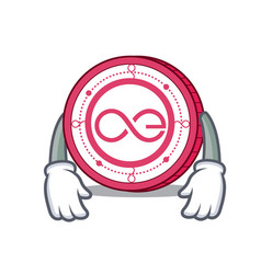 Tired aeternity coin mascot cartoon vector
