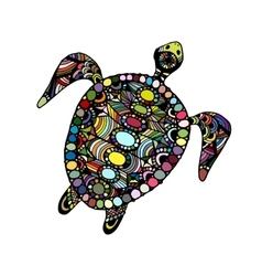 Tortoise ornate zentangle for your design vector image