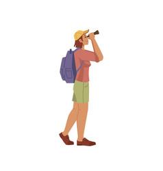tourist traveler look at binoculars cartoon person vector image