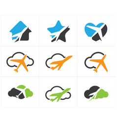 travel logos set airplane in home icons vector image