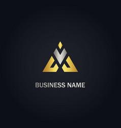 triangle v initial company gold logo vector image