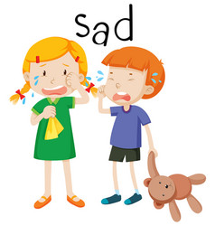 Two child sad emotion vector