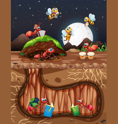 Underground scene with ants and bees flying vector