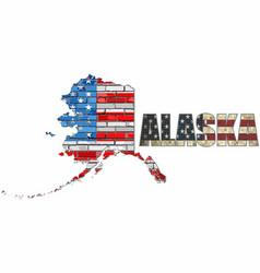 usa state of alaska on a brick wall vector image