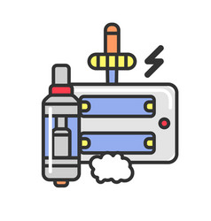 vape and liquid substance with flavor to refill vector image