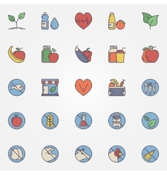 Vegetarian and healthy eating icons vector image